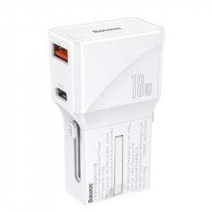 Incarcator universal de retea Baseus, QC 3.0, PD, USB + USB-C, 100-240V, 18W, EU/US/UK/AU (alb)