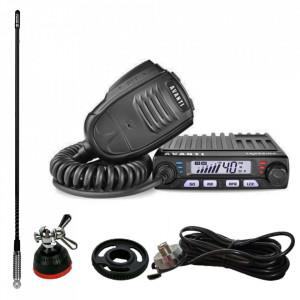Kit statie radio CB Avanti Supremo *PRO-version* + Antena Radio SIRIO T3/27 + Adaptor SIRIO Mag-DV + Suport prindere fixa pe portbagaj