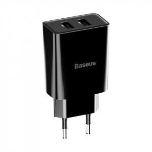 Mini incarcator de retea Baseus Speed 10.5W + cablu USB Lightning 2.4A 1m (negru)