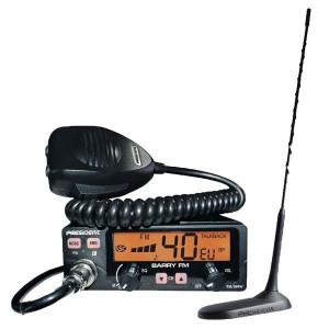 Pachet statie radio CB President Barry 12 / 24 V versiunea PRO cu antena Radio CB President Virginia UP