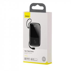 Powerbank Baseus Qpow cu cablu Lightning, 10000mAh, 3A, 15W (negru)