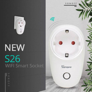 Priza inteligenta Sonoff S26, Wi-Fi, 10A, 2200W, compatibil Android/iOS