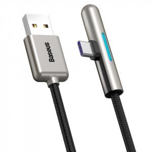 Cablu 90 grade plat USB-C Baseus Iridescent, Huawei SuperCharge, 40W, 0,5 m (negru)