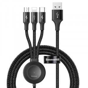 Cablu USB 3in1 Baseus Star Ring cu incarcare wireless pt Apple Watch, 1.2m (negru)