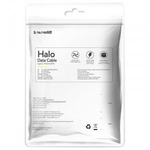 Cablu USB-C Baseus Halo, QC 3.0, PD 2.0, 60W, 3A, 2m (rosu)