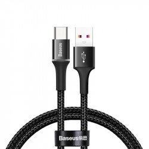 Cablu USB-C cu iluminare LED Baseus Halo do Huawei SuperCharge, 5A, 0,5m, 40W (negru)