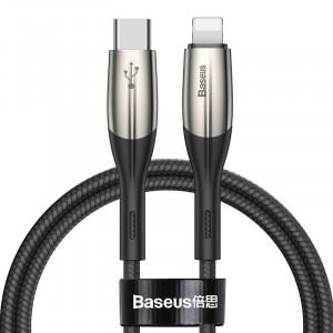 Cablu USB-C - Lightning Baseus Horizontal Power Delivery, dioda LED, 1m (negru)