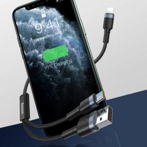 Cablu USB + USB-C - Lightning Baseus Cafule, PD, 18W, 2.4A, 1.2m (negru-gri)