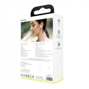 Casti wireless TWS Baseus Encok W04 Pro, incarcare wireless, Bluetooth 5.0 (alb)
