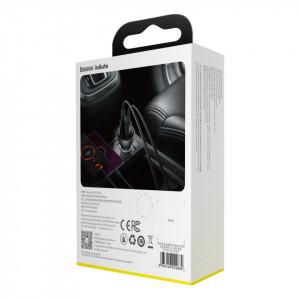 Incarcator auto Baseus Digital Display + cablu USB-C, 2x USB, QC3.0, 45W, 5A (gri)
