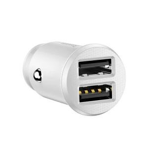 Incarcator auto Baseus Grain 2x USB 5V 3.1A (alb)