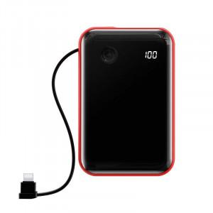 Powerbank Baseus Mini S cu cablu Lightning, 10000mAh, 3A, 15W (negru-rosu)