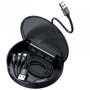 Statie incarcare auto Baseus Car Sharing (2x USB + USB-C) cu cablu USB 3in1 (micro/Lightning/USB-C) (negru)