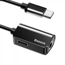 Adaptor Audio Baseus L40 USB-C la Mini Jack 3.5mm i USB-C (negru)