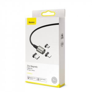 Cablu magnetic Baseus Zinc Kit micro USB / USB-C / Lightning 2.4/3A 1m (negru)