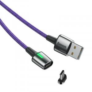 Cablu magnetic Lightning Baseus Zinc 1.5A 1m cu LED (violet)