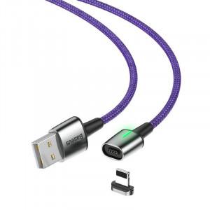Cablu magnetic Lightning Baseus Zinc 1.5A 2m cu LED (violet)