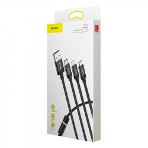 Cablu USB Baseus Data Faction 3in1 Typ C / Lightning / Micro 3,5A 1,2m (negru)