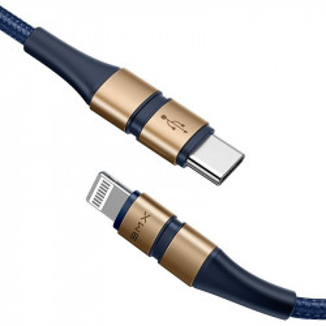 Cablu USB-C - Lightning Baseus BMX Double-deck, MFi, Power Delivery, 18W, 1,2m (albastru-auriu)