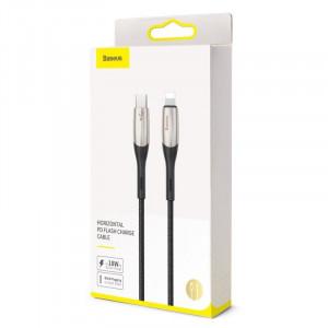 Cablu USB-C - Lightning Baseus Horizontal Power Delivery, dioda LED, 0,5m (negru)