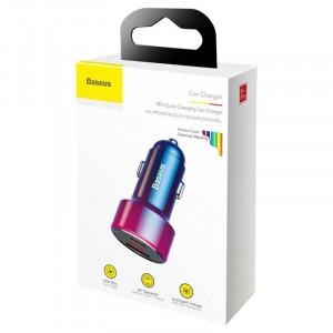 Incarcator auto Baseus Magic USB + USB-C QC 4.0 PD 45W (rosu-albastru)