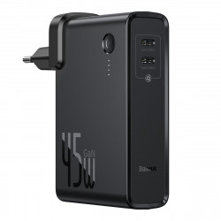 Incarcator GaN + powerbank 10000mAh 2in1 Baseus Power Station, 2x USB-C, PPS, PD 3.0, 5A, 45W (negru)