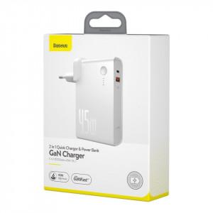 Incarcator GaN + powerbank 10000mAh 2in1 Baseus Power Station, USB + USB-C, QC 3.0, PPS, PD 3.0, 5A, 45W (alb)