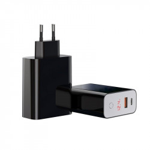 Incarcator retea USB + USB-C Baseus PD + QC 3.0 45W (negru)