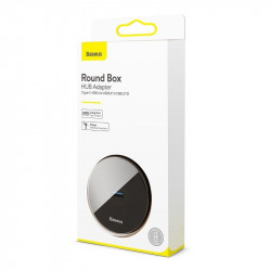 Adaptor USB 3.0 Baseus Round Box, HUB USB/USB-C la 1x USB 3.0 + 3x USB 2.0, 12cm (negru)