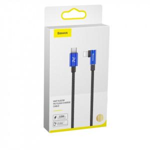 Cablu 90 grade USB-C - Lightning PD Baseus MVP Elbow, 18W, 2m (albastru)