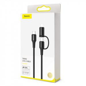 Cablu USB 2in1 Baseus Twins, USB-C la USB-C + Lightning, PD, 60W, 1m (negru)