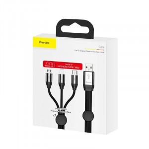 Cablu USB 3in1 Baseus Car Co-sharing Micro / USB-C / Lightning, 3.5A 1m (negru)