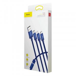 Cablu USB Baseus Data Faction 3in1 Typ C / Lightning / Micro 3,5A 1,2m (albastru)