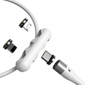 Cablu USB Baseus Fast 4in1 USB la USB-C / Lightning / Micro 3A 1m (alb)