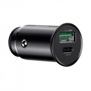 Incarcator auto Baseus Circular Metal, QC 4.0 + PD 3.0, VOOC, SCP, AFC, MTK PE, 30W (negru)
