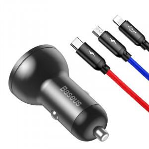 Incarcator auto Baseus Digital Display 24W + cablu USB 3in1 Baseus Three Primary Colors 1,2m