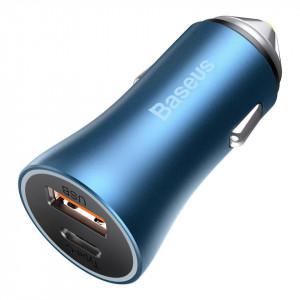 Incarcator auto Baseus Golden Contractor Pro, USB+USB-C, QC4.0+, PD, SCP, 40W (albastru)