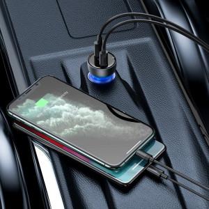 Incarcator auto Baseus Particular Digital Display, USB + USB-C, QC3.0+PD, 5A, 65W (gri)