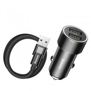 Incarcator auto + cablu USB-C Baseus Small Screw 2xUSB 3.4A (negru)