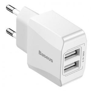 Mini incarcator de retea Baseus 2x USB - (alb)