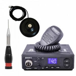 Promotie statie radio CB Avanti Alpha + antena CB Storm ML 145 Black + baza magnetica 145 PL
