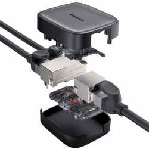 Splitter cablu retea Baseus High Speed RJ45 1000 MBps (negru)