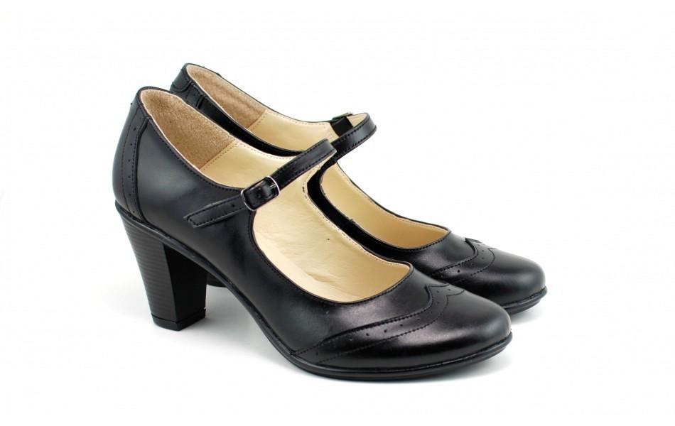 priza de fabrica data eliberării: cumpara cel mai bine Pantofi dama eleganti din piele naturala negri cu toc de 7 cm cod P117N