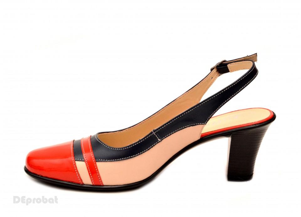 Pantofi dama casual din piele naturala bej cu platforma de