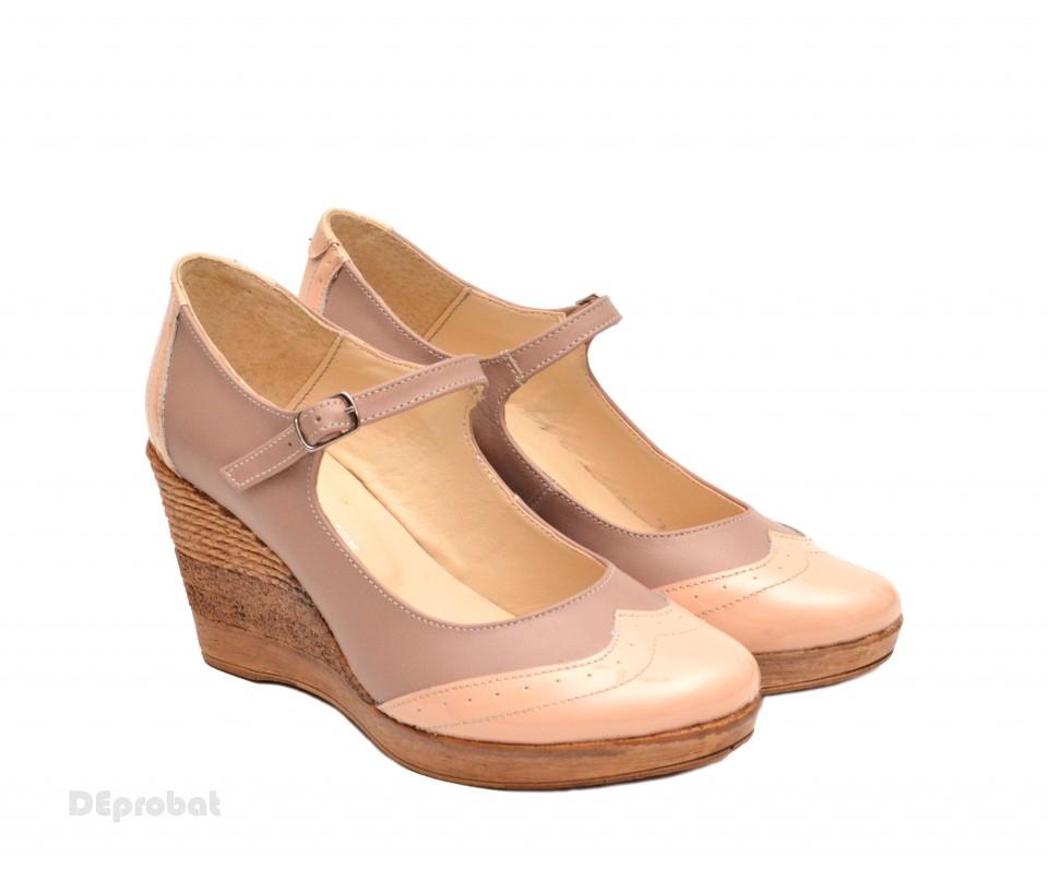 diferit pentru întreaga familie aspect nou Pantofi dama piele naturala bej cu platforma cod P113 - LICHIDARE ...