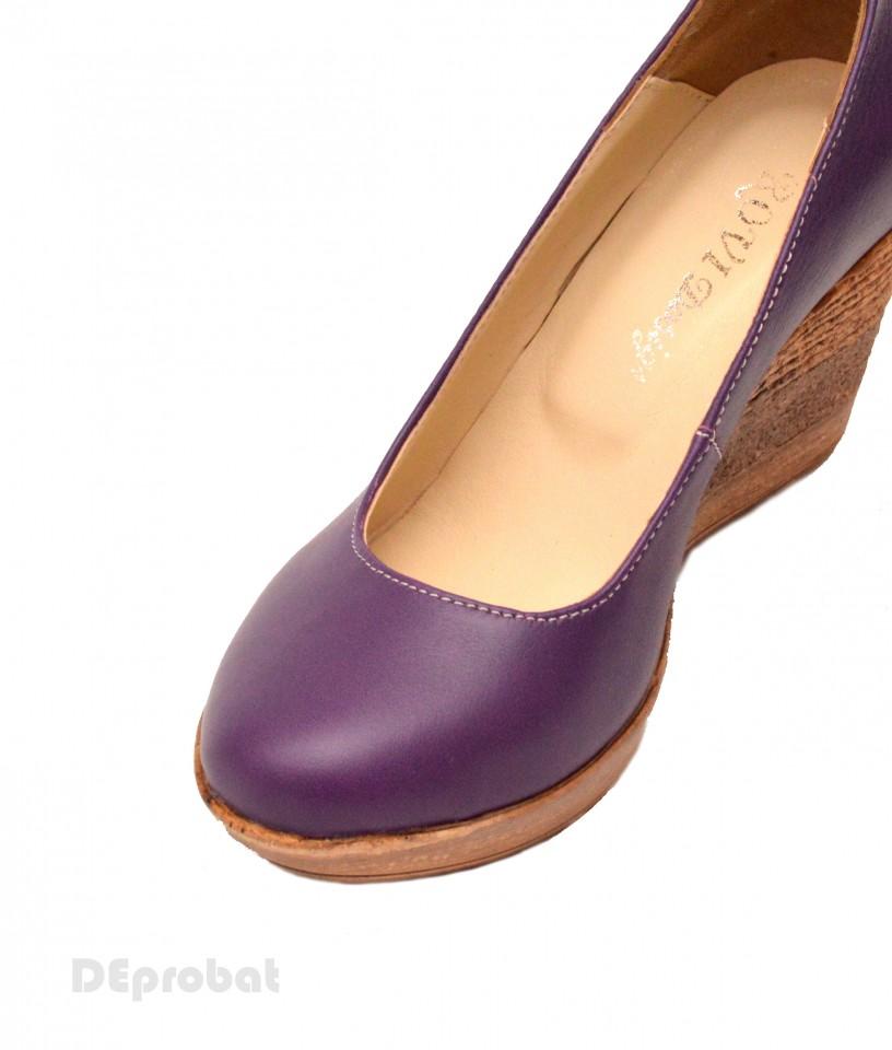 arata bine vanzare pantofi cea mai buna calitate previzualizare a Pantofi mov dama eleganti - casual din piele naturala cod P146