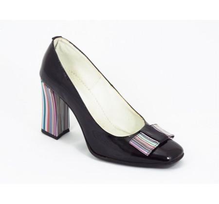Poze Pantofi dama eleganti din piele naturala negri lacuiti cod P322