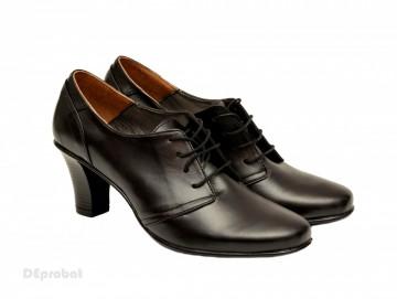 Poze Pantofi dama eleganti negri din piele naturala cu toc 7 cm cod P136