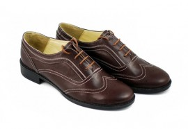 Poze Pantofi dama maro casual-eleganti din piele naturala Oxford cod P71M