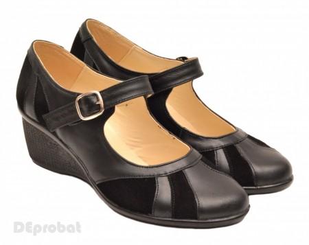 Poze Pantofi dama negri din piele naturala cu platforma cod P40N - LICHIDARE STOC 38